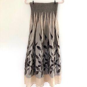 Lapis Floral Strapless Dress